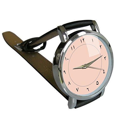 Pink Arabische Zahlen Uhr Herren Quarz Uhr mit Zifferblatt Analog Anzeige und echtem Lederband