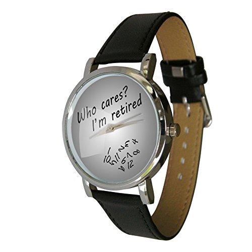 Who Cares I m Retired Armbanduhr Ideal Geschenk zum Ruhestand Idee Jumbled Zahlen zeigt Zahlen Falling Off