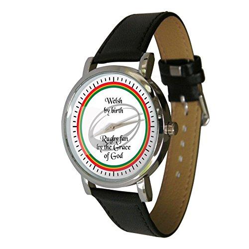 Welsh Rugby Fan Design Armbanduhr Rugby Geschenk Echtes Leder Gurt