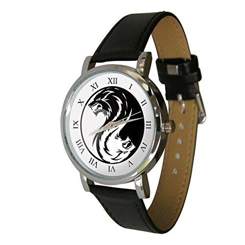 YIN YANG Wolf Design Armbanduhr Echt Leder Strap