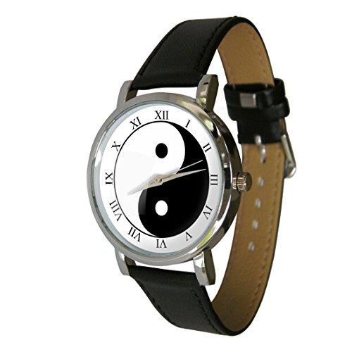 YIN YANG Design Armbanduhr Echt Leder Strap