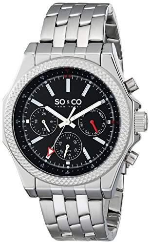 So & Co New York Soho Herren-Armbanduhr Analog Quarzuhrwerk silberfarbenes Edelstahlband schwarzes Zifferblatt 50031