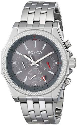So &Co Soho MenNew York Herren Quarzuhr mit Grau Dial Analog-Anzeige und Silber-Edelstahl-Armband 50032