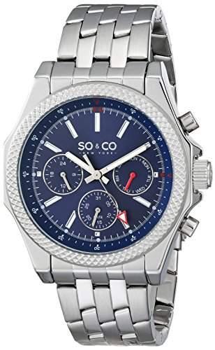 So & Co New York Soho Herren-Quarzarmbanduhr, blaues Ziffernblatt, analoge Anzeige, Armband aus Silber und Edelstahl 50033