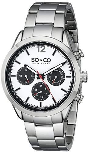 So &Co, New York Monticello MenQuarz-Uhr mit weissem Zifferblatt Analog-Anzeige und Silber-Edelstahl-Armband 50042