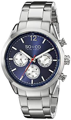 So &Co Monticello MenNew York Herren Quarzuhr mit blauem Zifferblatt Analog-Anzeige und Silber-Edelstahl-Armband 50043