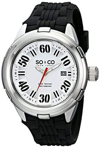 So &Co, New York Soho MenQuarz-Uhr mit weissem Zifferblatt Analog-Anzeige und Schwarz-Silikon-Buegel 50052