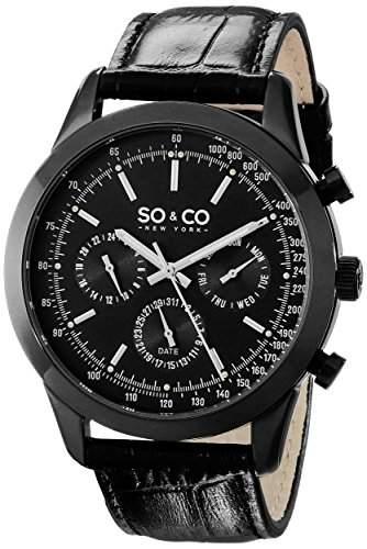 So & Co New York Monticello Herren Armbanduhr Quarzuhrwerk mit schwarzem Zifferblatt Analog-Anzeige und schwarzem Lederband 5006AL4