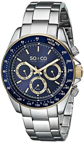 SO & CO New York Herren-Armbanduhr Monticello Analog Quarz Edelstahl 5010B3