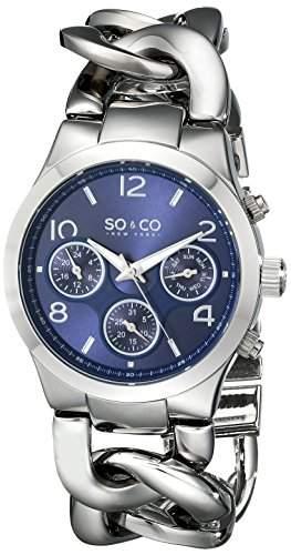 So & Co New York SOHO Damen Quarzuhr mit Blau Zifferblatt Analog-Anzeige und Silber Edelstahl Armband 50136