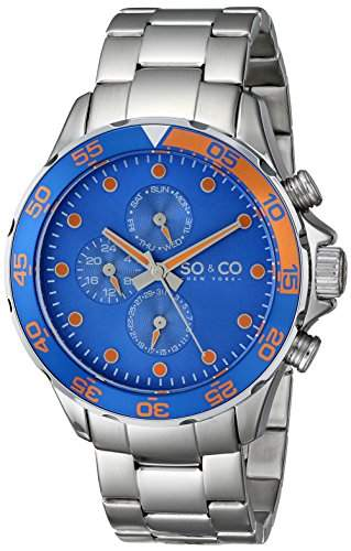 So &Co MenYacht Club New York Herren Quarzuhr mit blauem Zifferblatt Analog-Anzeige und Silber-Edelstahl-Armband 50142
