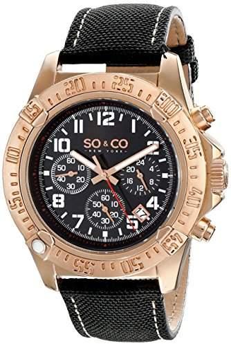 SO &CO New-York - 50164 Herren Uhr-Quarz-Analog-AigullesStoppuhrIndexe-Armband Leder schwarz