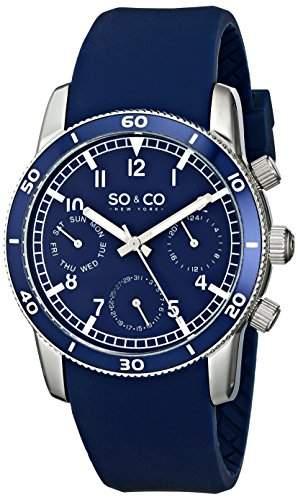SO & CO New York Herren-Armbanduhr Analog Quarz Silikon 5018B2