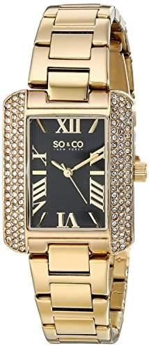 So & Co New York Madison Damen-Armbanduhr Analog Quarz goldfarbenes Edelstahlband schwarzes Zifferblatt 50203