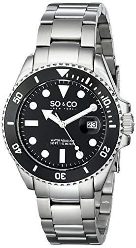 So &Co MenYacht Club New York Herren Quarzuhr mit schwarzem Zifferblatt Analog-Anzeige und Silber-Edelstahl-Armband 50251