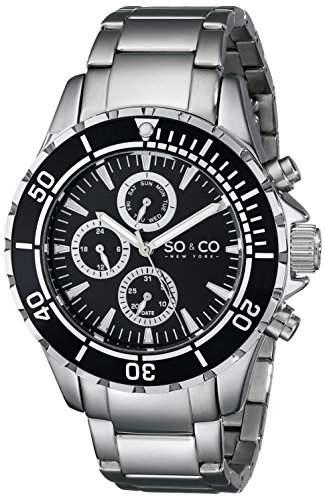 So &Co MenYacht Club New York Herren Quarzuhr mit schwarzem Zifferblatt Analog-Anzeige und Silber-Edelstahl-Armband 50381