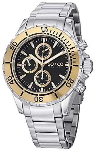 So & Co New York Herren 50383Yacht Timer Quarz GMT Tag und Datum 23K goldfarbene Luenette Edelstahl Link Armband Armbanduhr