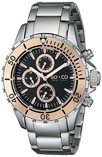 So &Co MenYacht Club New York Herren Quarzuhr mit schwarzem Zifferblatt Analog-Anzeige und Silber-Edelstahl-Armband 50384