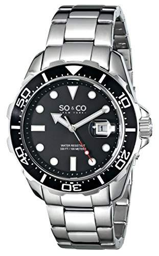 So &Co MenYacht Club New York Herren Quarzuhr mit schwarzem Zifferblatt Analog-Anzeige und Silber-Edelstahl-Armband 50421