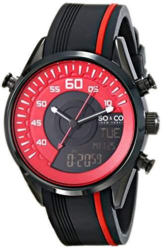 SO & CO New York Herren-Armbanduhr SoHo Analog Digital Quarz Silikon 50444