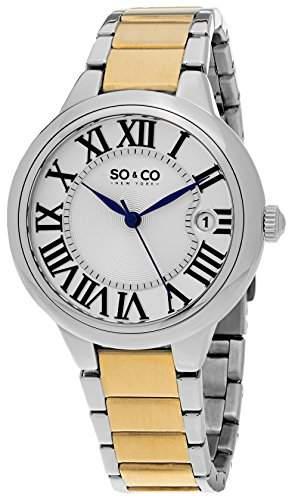 So & Co New York Madison Damen Quarzuhr mit Silber Zifferblatt Analog-Anzeige und Silber Edelstahl Armband 5052b2