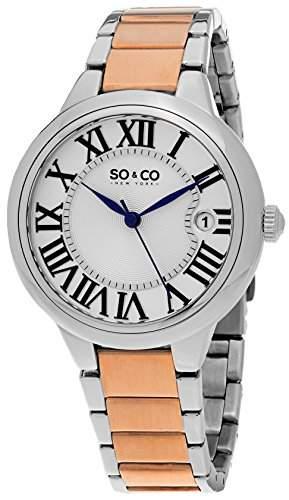 So & Co New York Madison Damen Quarzuhr mit Silber Zifferblatt Analog-Anzeige und zweifarbigem Armband Edelstahl 5052b3