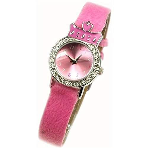 Spirit Kronen - Geschenkset bestehend aus Maedchenuhr mit flauschigem Armband, passender Halskette und Taeschchen AKG-02