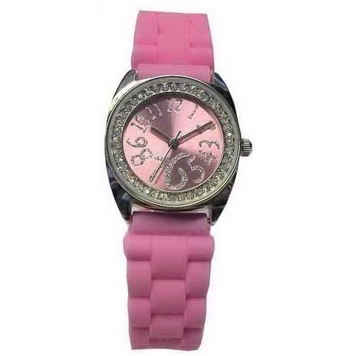 SPIRIT - Rosa Kautschuk-Uhr mit Armreifen und Portemonnaie