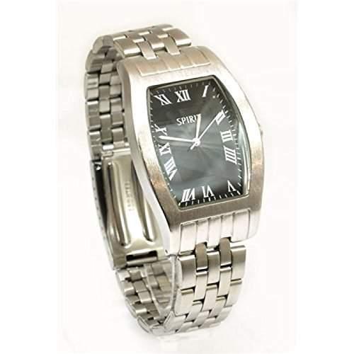 Spirit - ASPL22 - Herrenuhr mit schwarzem Zifferblatt und Armband im Silberton