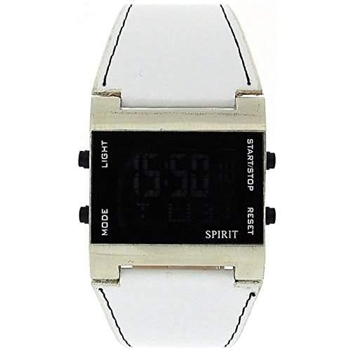 SPIRIT ASPG09 weisse Herrenfreizeituhr digital mit Datumsanzeige und Alarmfunktion - PU Armbad