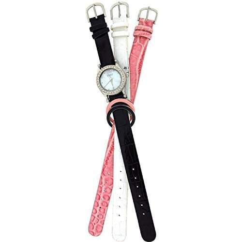 Spirit Damenarmbanduhr Set mit 3 austauschbaren Gehaeusen und Uhrbaendern