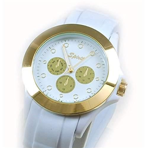 Spirit weissgoldene Sportarmbanduhr, imitierte Chronographen