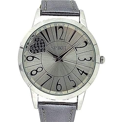 SPIRIT Damen Freizeit-Armbanduhr mit Herzdesign, silberfarben, braunes PU-Armband ASPL47