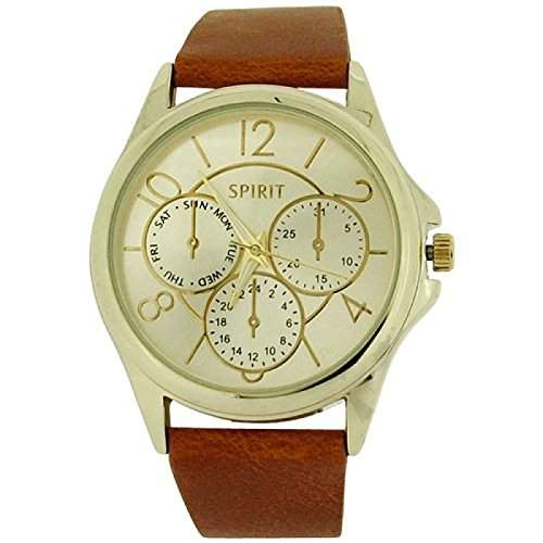 Spirit Damenuhr Goldzifferbl Chronoeffekt braunes PU Band ASPL61