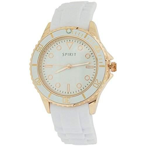 Spirit stylische roségoldf Uhr mit weissem Silikonarmband ASPL69