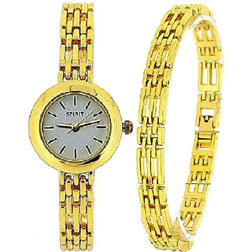 Spirit Geschenkset analoge goldfarbene Uhr und Armband ASPL52