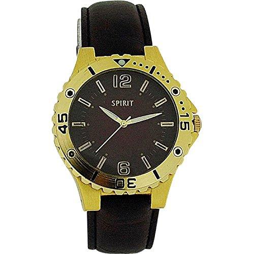 Spirit braunes Zifferbl goldene Luenette braunes PU Band 911 0207