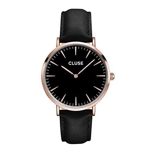 CLUSE Armbanduhr La Boheme Rose Gold Leder Schwarz