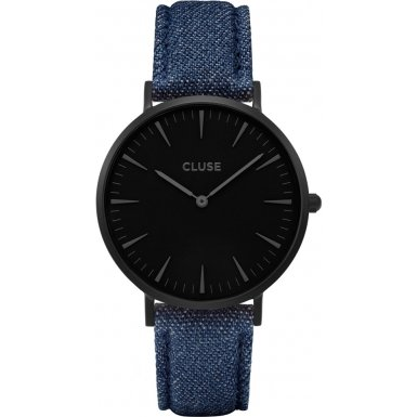 Cluse La Boheme Full Black Blue Denim Armbanduhr CL18507