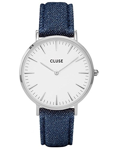 Cluse La Boheme Silver White Blue Denim Uhr CL18229