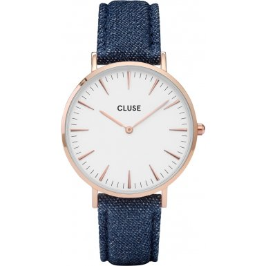 Cluse La Boheme Rose Gold White Blue Denim Uhr CL18025