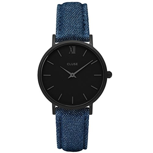 CLUSE CL30031 Minuit Full Black Denim Uhr Lederarmband Edelstahl 3 bar Analog blau