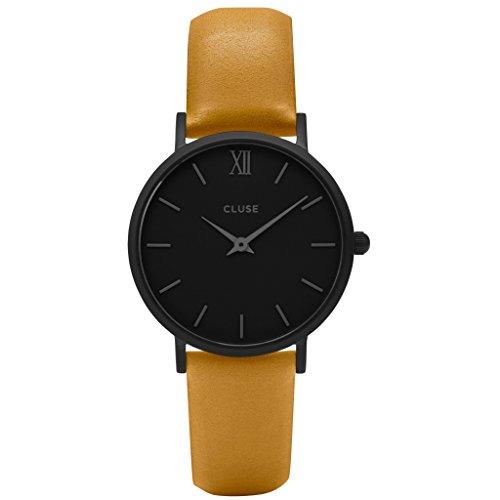CLUSE CL30033 Minuit Full Black Mustard Uhr Lederarmband Edelstahl 3 bar Analog gelb
