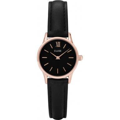 CLUSE CL50011 La Vedette Rose Gold Black Black Uhr Damenuhr Lederarmband vergoldet 3 bar Analog schwarz