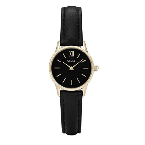 CLUSE CL50012 La Vedette Gold Black Black Uhr Damenuhr Lederarmband vergoldet 3 bar Analog schwarz