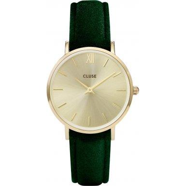 Cluse Minuit Gold Green Velvet CL30040