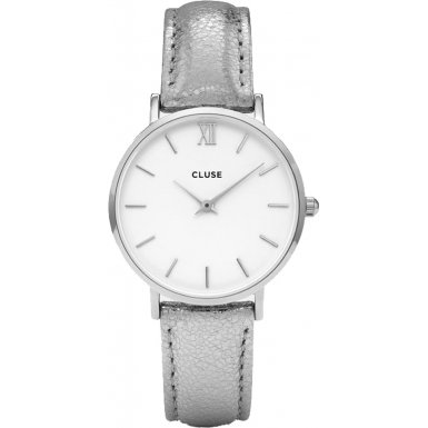 CLUSE CL30039 Minuit Silver White Silver metallic Uhr Lederarmband Edelstahl 3 bar Analog silber
