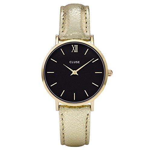 CLUSE CL30037 Minuit Gold Black Gold Metallic Uhr Lederarmband vergoldet 3 bar Analog gold