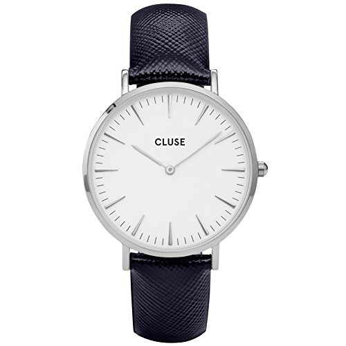 CLUSE CL18232 La Boheme Silver White Midnight Blue Uhr Damenuhr Lederarmband Edelstahl 3 bar Analog blau