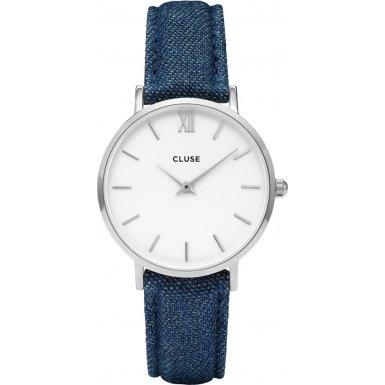 Cluse Minuit Silver White Blue Denim CL30030